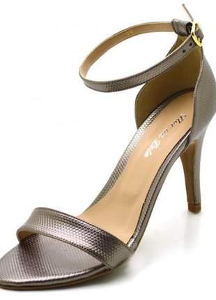 Sandália feminina social salto alto fino em napa trissê ônix metalizada