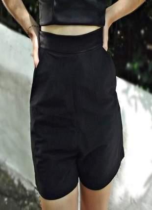 Shorts tecido sarja curto feminino cintura alta verão barato