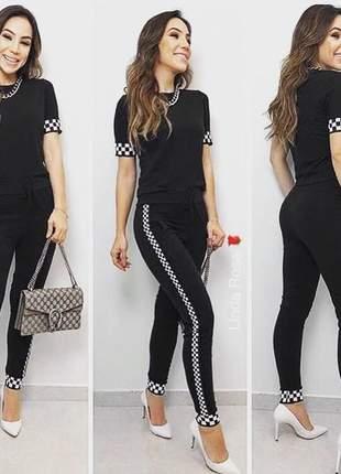 Conjunto moletinho elastano calça e blusa com faixas laterais xadrez
