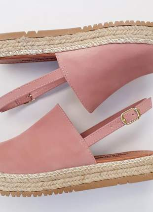 Sandália avarca feminina flatform rosa corda espadrille