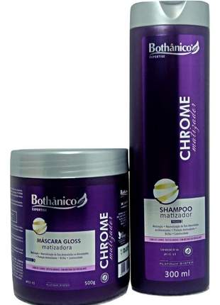 Kit chrome matizador bothanico hair shampoo e mascara 500g