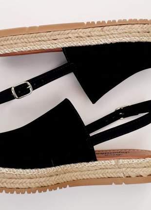 Sandália avarca feminina flatform corda preta espadrille
