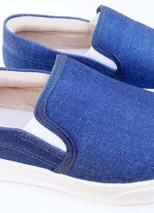Tênis slip on feminino iate flatform azul jeans promoção
