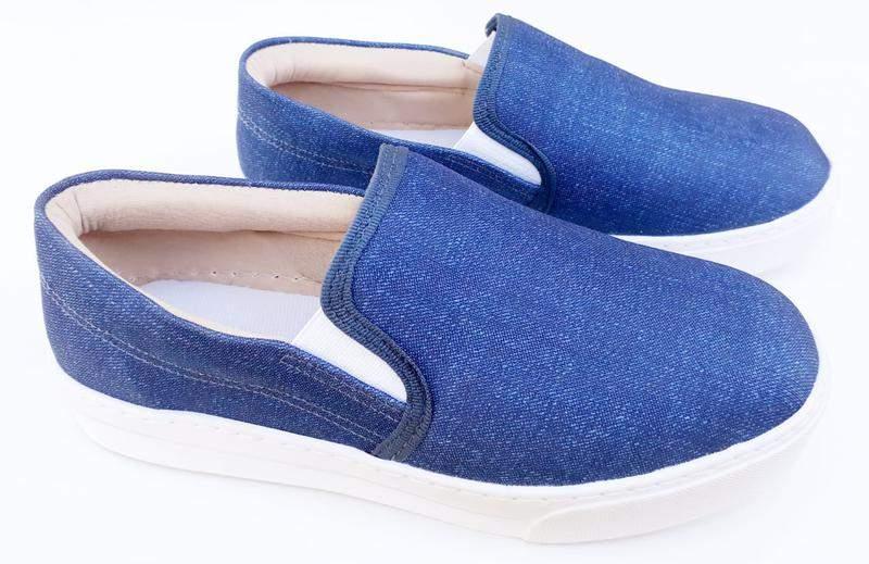 d395641ea Tênis slip on feminino iate flatform azul jeans promoção - R$ 53.90 ...