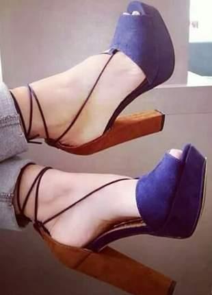 Sandálias femininas plataforma bicolor
