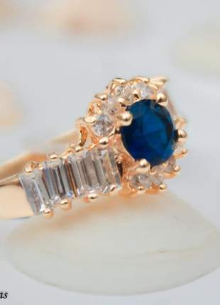 Anel banhado a ouro 18k feminino zirconia azul