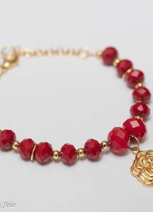 Pulseira feminina red rosa mexicana banhada a ouro