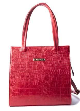 Bolsa feminina vermelha croco