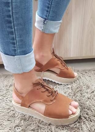 Sandália feminina anabela plataforma espadrille marrom
