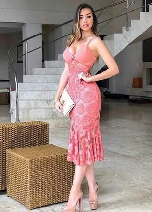 Vestido midi coral