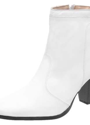 Bota feminina em couro de pelica cano curto rf 1945 branco