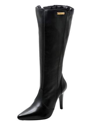Bota feminina couro legítimo cano longo ref 2211 preto