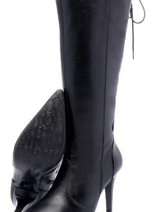 Bota feminina couro legítimo cano longo 2212 preto
