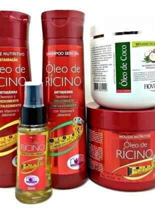 Kit oleo de rícino extra virgem completo + coco nutritivo