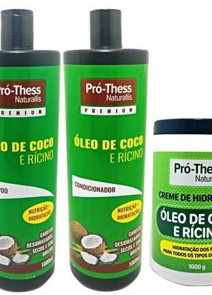 Kit óleo de coco e rícino pro thess naturallis premium 3 x 1litro