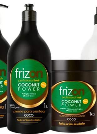 Kit frizon coconut power óleo de coco completo 04 itens 1 litro cada