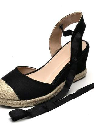 Sandália anabela camurçado preto amarrar na perna corda