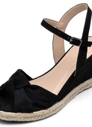 Sandália anabela nó camurçado preto fivela corda