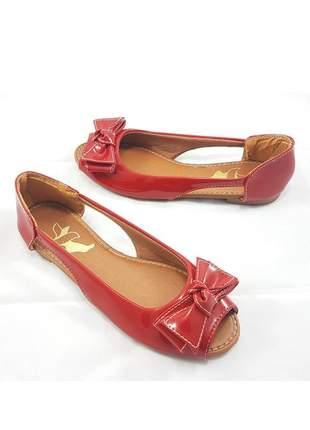 Sapatilha péz descalços peep toe vermelha