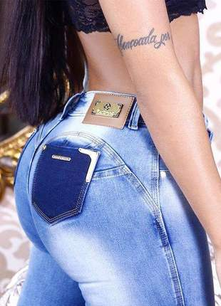 Calça jeans clara feminina com lycra linda