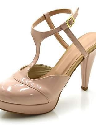 Sandália salto alto fino em napa verniz nude numeração especial 32 ao 43