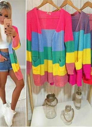 3c9fed59a Kimono em tricô listrado multi color modelo super despojado tendência  inverno 2019