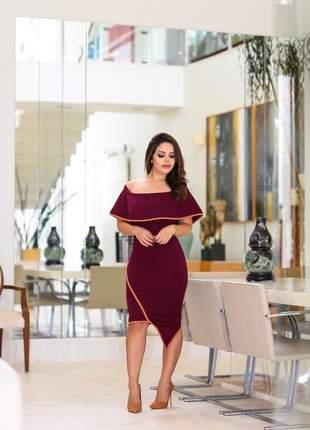 Vestido ombro a ombro midi vinho marsala tubinho lançamento 2019