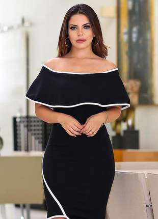 Vestido midi festa preto e branco ombro a ombro tubinho lançamento 2019