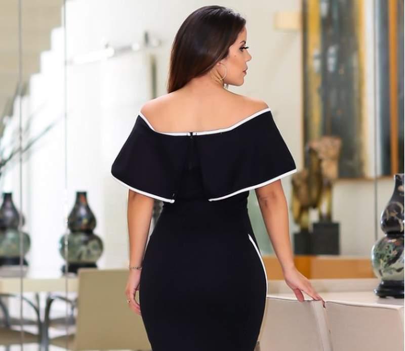 Brenda Barcelos / Vestido midi festa preto e branco ombro a ombro tubinho lançamento 2019