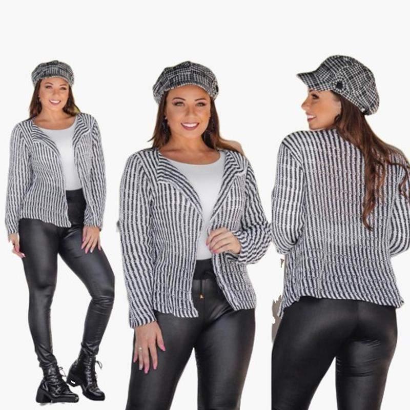 749e9f8290 Casaco feminino blazer casaquinho social tricot frio branco e preto ref  39b1 ...