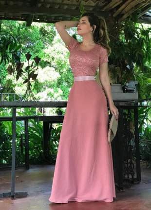 Vestido longo rosé manga curta - coleção festa