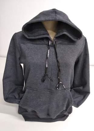 Blusa casaco moletom capuz feminino
