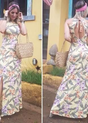 Vestido longo com fénda na lateral com detalhes nas costas lançamento primavera verão 2019