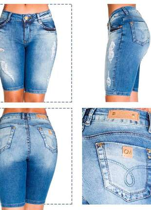 Bermuda ciclista feminino jeans canal da mancha laycra