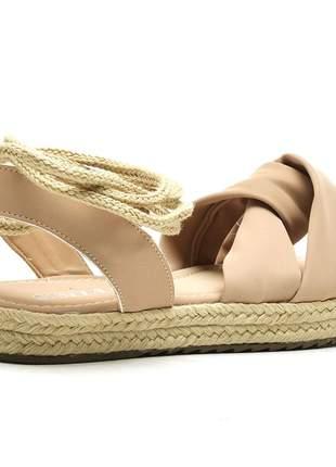 Sandália rasteira flat avarca em napa nude sola alta corda