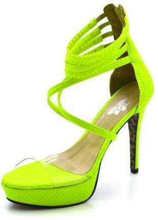 Sandália plataforma meia cana salto alto em napa verde neon