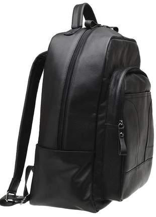 Mochila unissex tiracolo notebook couro legítimo m03 preto