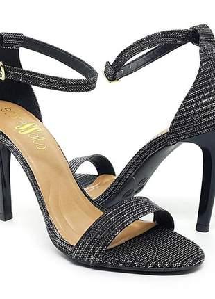 Sandália salto alto fino sobressalto com lurex  preto