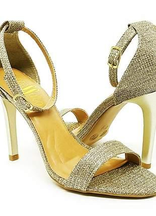 Sandália salto alto fino sobressalto ouro com glitter