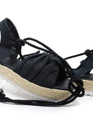 Sandália feminina anabela plataforma espadrille preta com amarração