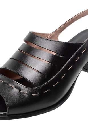 Sandália bw retro em couro legítimo 3151 preto
