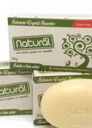 Sabonete natural suavetex com extrato orgânico de camomila 80g  vegano
