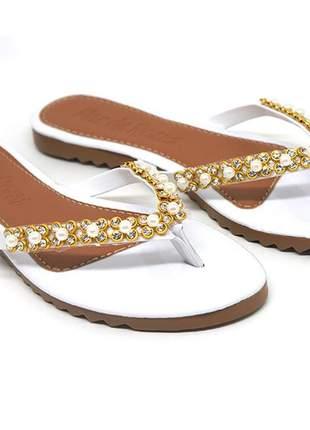 Sandália doma shoes rasteira nude tiras com pérolas