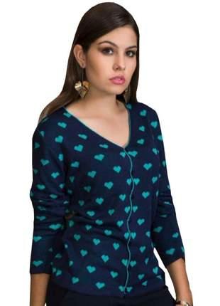 Cardigan de lã jaquetinha de botão casaquinho feminino trico