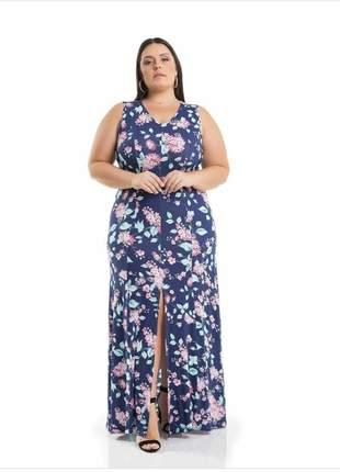 Vestido floral longo plus size