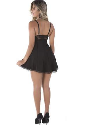 Camisola sensual feminina renda sexy babydoll preta