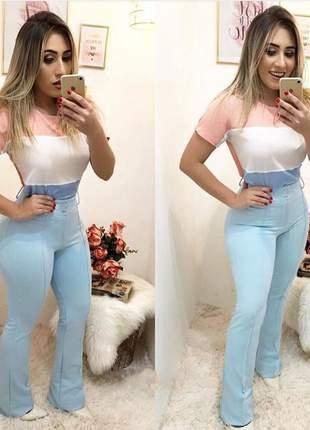 Conjunto calça flare e blusa tricolor em crepe dior - 047