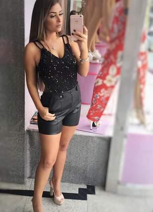 Shorts de corino cintura alta