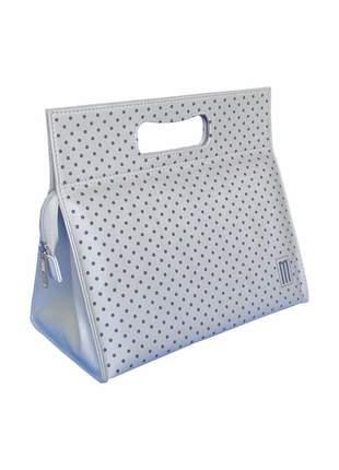 Bolsa térmica fashion premium pequena couro silk poá - mille - prata