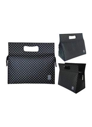 Bolsa térmica fashion premium pequena couro silk poá - mille - preta